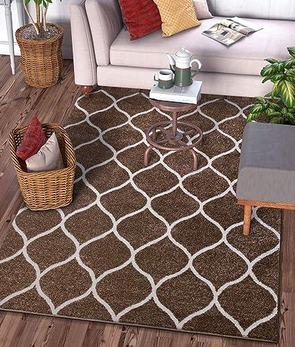 Well Woven Scala Trellis Brown Modern Traditional Moroccan Lattice Area Rug 8×11 7'10″ x 9'10″ Carpet