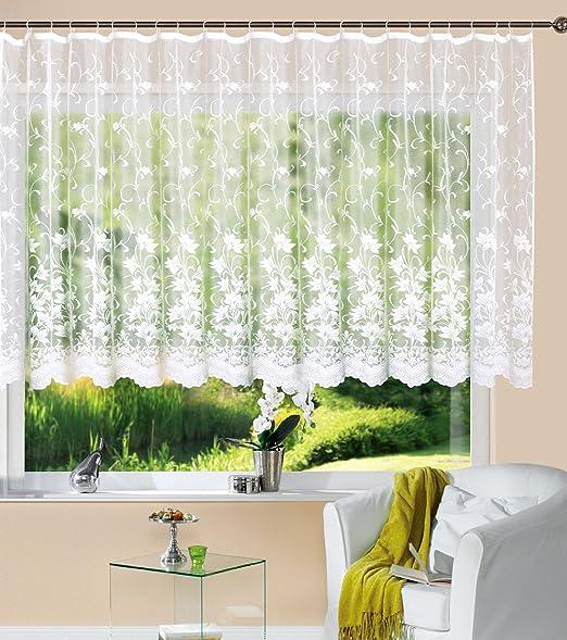 Gardine Store Kurzstore Jacquard Koblenz HxB 10x10 cm Kräuselband  Universalband Weiß Blumenmuster Transparent Voile Vorhang Wohnzimmer