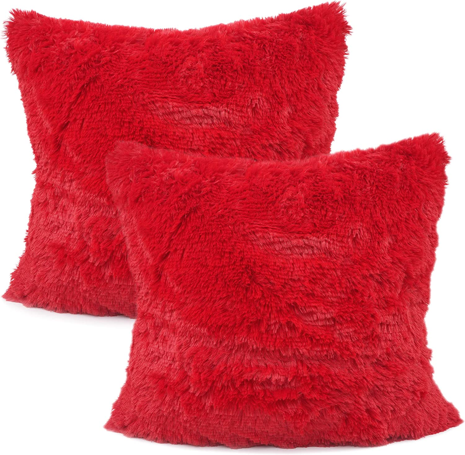 """YOUR SMILE Pack of 2, Christmas Decorative New Luxury Series Merino Style Faux Fur Throw Pillow Case Cushion Cover 18"""" x 18""""(Red)"""