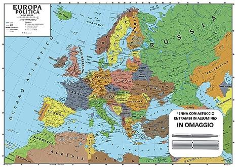L Europa Cartina Geografica.Carta Geografica Murale Europa 100x140 Scolastica Bifacciale
