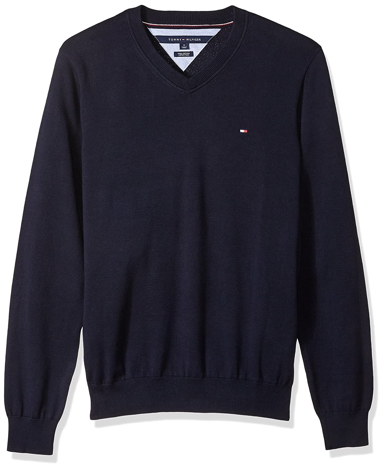 Tommy Hilfiger Mens Signature Long Sleeve V-Neck Solid Sweater