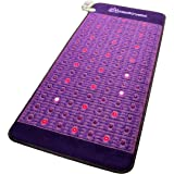 "Far Infrared Amethyst Mat + Natural Agate Gems - FIR Heat - Negative Ion - Red Light Photon Therapy - 10Hz PEMF Bio Magnetic Pulsation - FDA Registered Manufacturer - Purple (Professional 71""L x 32""W)"