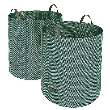 SONGMICS Set de 2 Bolsas de residuos de jardín, Sacos para desechos, Bolsas de Basura de jardín, Capacidad de 500 L, Plegable, Verde, GTS500GN