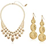 """Gold Tone Earrings and Necklace Jewelry Set, 16"""" + 3"""" Extender"""