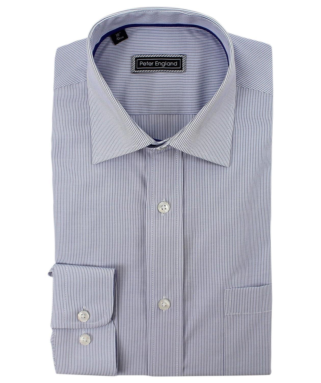 Peter England - Camiseta de Manga Larga con línea de Pelo Azul ...