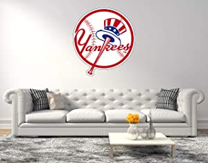 """American Baseball Team Yankees Logo - Wall Decal for Home Bedroom Hall Decoration (Wide 20""""x22"""" Height Inches)"""