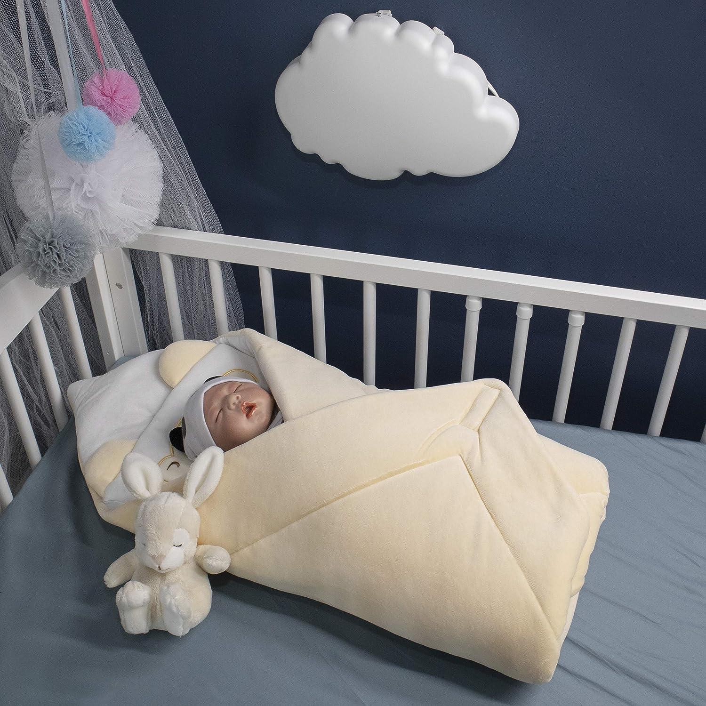 78 x 78 cm Veloursdecke Blau Perfekt als Geschenk f/ür Baby Shower Schlafsack f/ür Neugeborene von 0 bis 3 Monaten BlueberryShop Wickeldecke mit Kissen