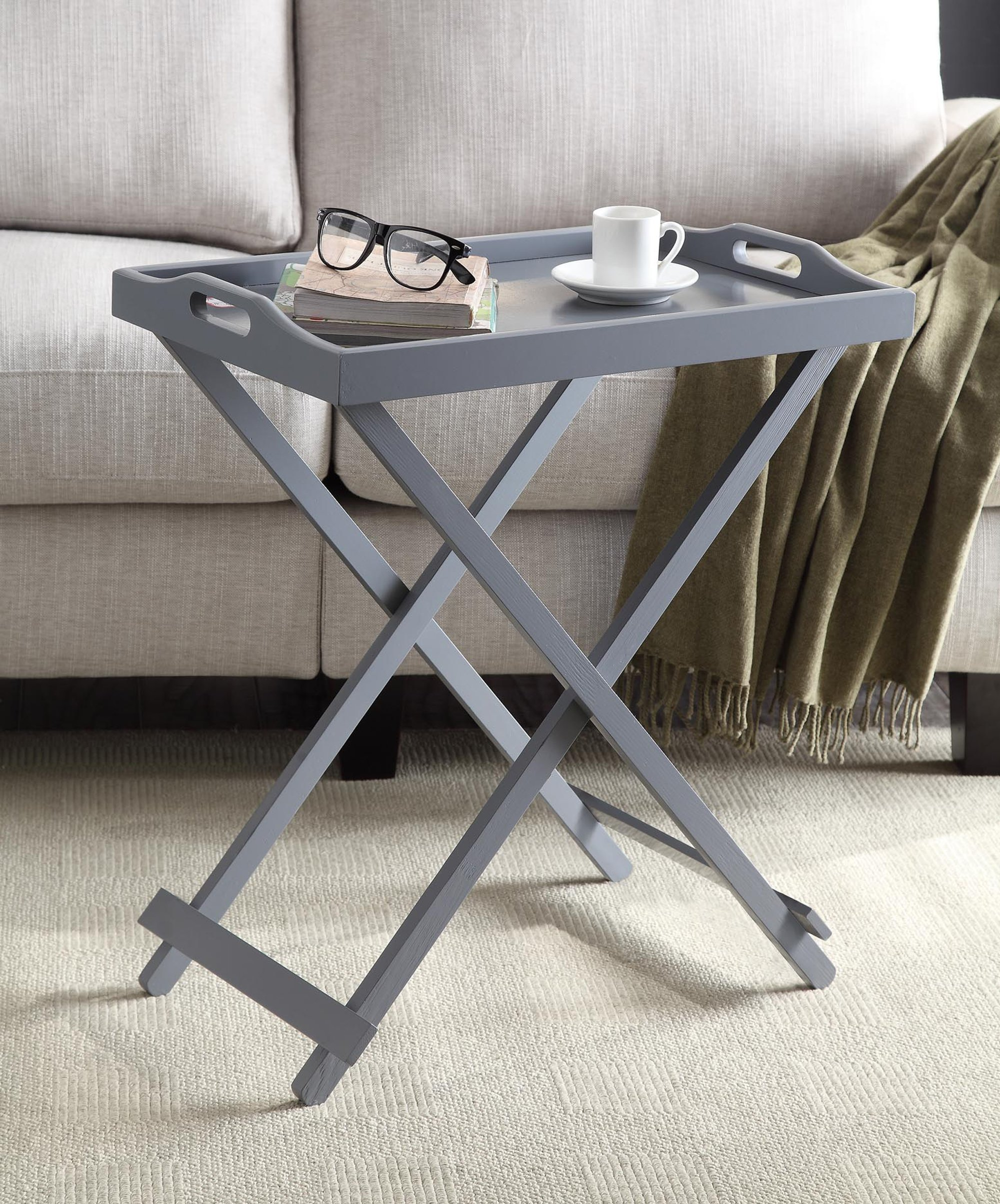 Convenience Concepts Designs2Go Folding Tray Table, Gray by Convenience Concepts (Image #3)