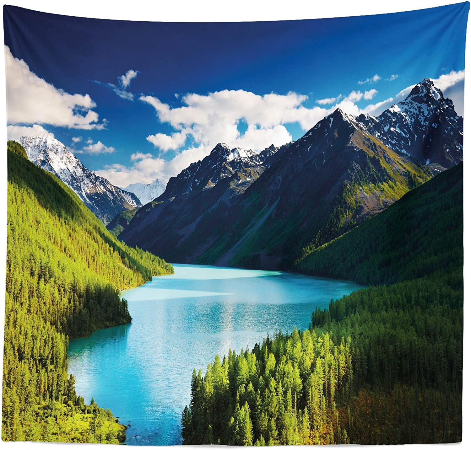 """Lunarable Nature Tapestry Queen Size, Mountain Range and Lake with Idyllic Pine Forest Cloud Sky Calm Landscape, Wall Hanging Bedspread Bed Cover Wall Decor, 88"""" X 88"""", Olive Green"""