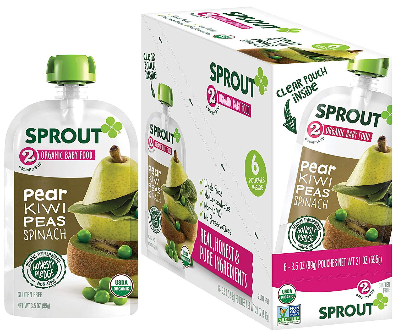 Sprout Organic Baby Food, Stage 2 Pouches, Fruit & Veggie Blend, Pear Kiwi Peas & Spinach, 3.5 Oz Purees (Pack of 12)