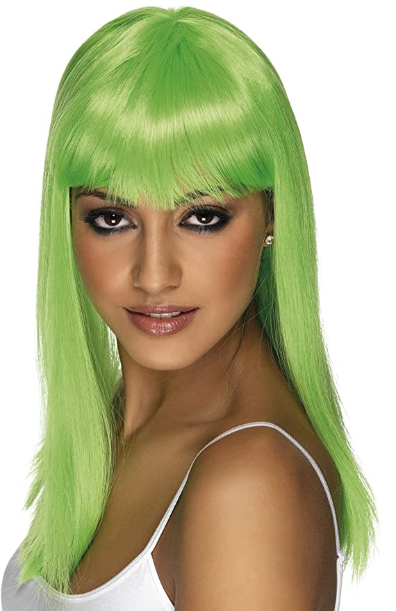 Peluca verde larga para disfraz neón
