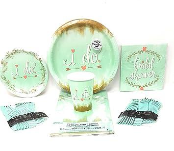 bridal shower party supplies mint to be 6 piece bundle disposable plates