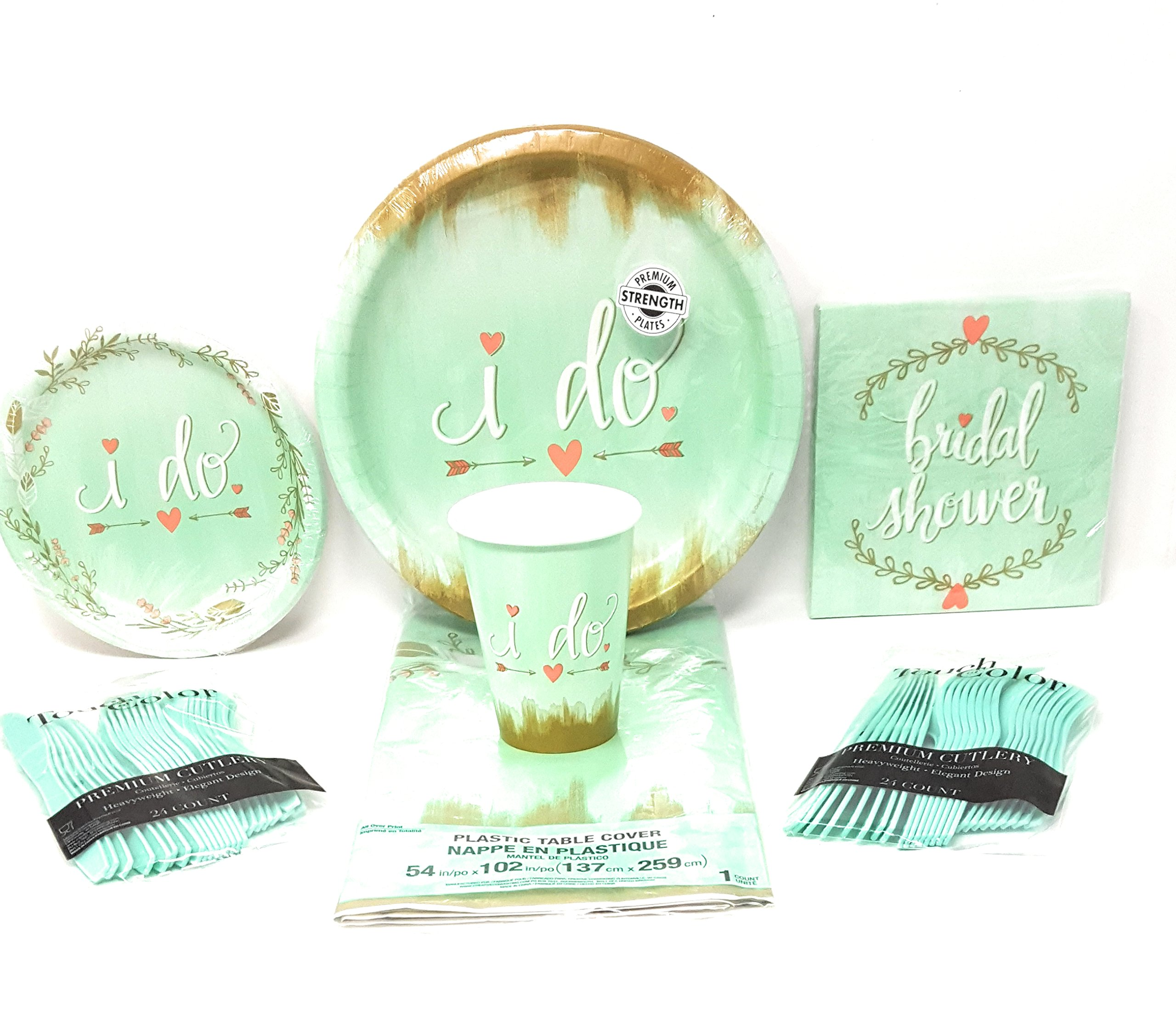 Bridal Shower Party Supplies (Mint to Be) 6-Piece Bundle, Disposable Plates, Napkins, Cups, Silverware,Table Cloth, Serves 16