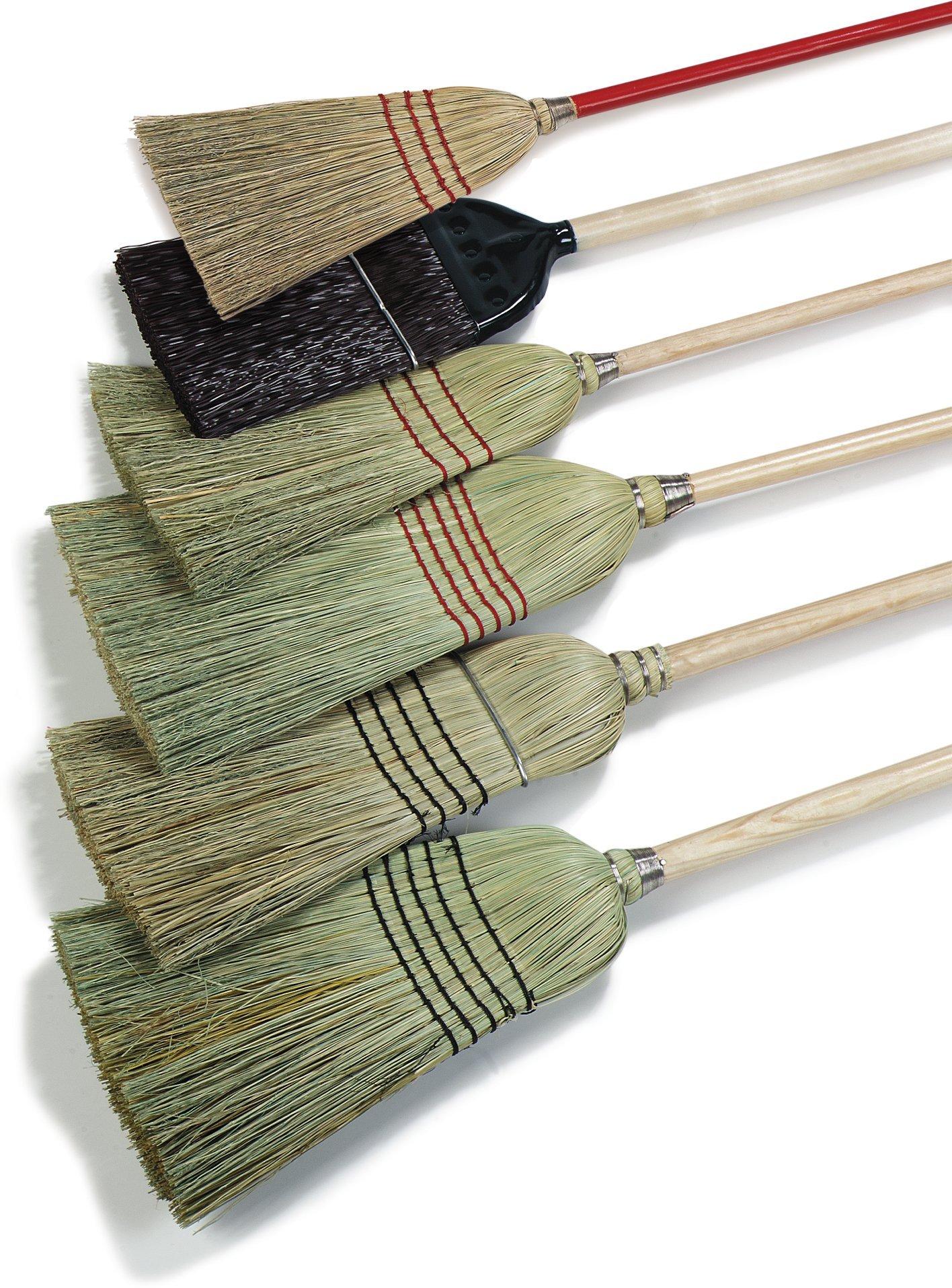 Carlisle 4063400 5-Stitch Janitor Broom, Corn Bristles, #26 Fill, 12'' Width x 13'' Trim Bristle, 56'' Overall Length (Case of 6) by Carlisle