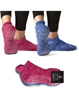 LA Active Grip Socks - 2 Pairs - Yoga Pilates Barre Ballet Non Slip Covered (