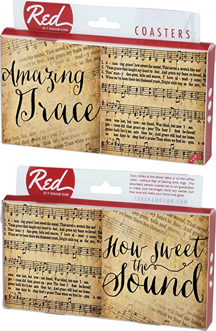 Hymns How Sweet The Sound 4 Piece Absorbent Ceramic Coaster Set