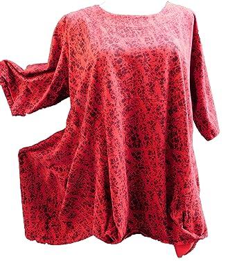 7f078256c922 LABASS 2018 Tunika Shirt Cotton A-Stil rot-schwarz-bunt Kurzarm Lagenlook Gr