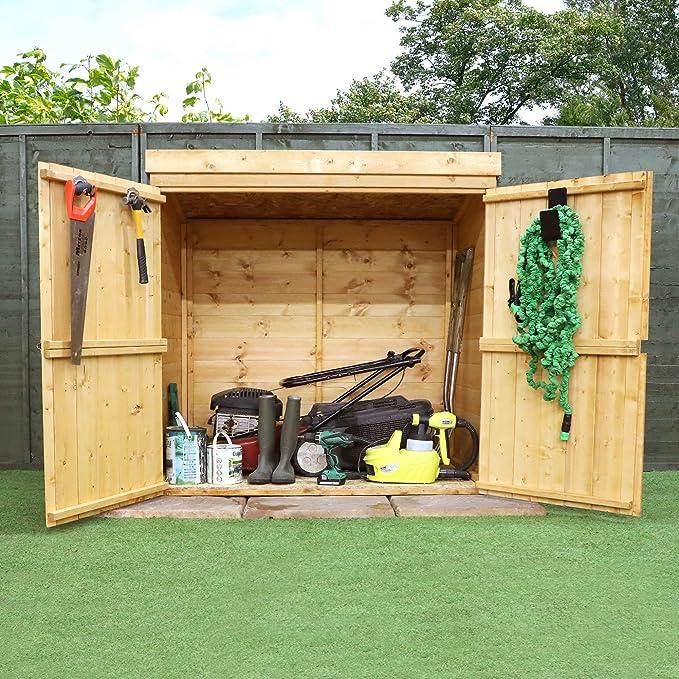 4 x 2 cobertizo de madera unidad de almacenamiento para jardín, puerta doble, Store, sin ventanas, tabla de hoja sólida, 10 años de garantía Imprimen, ...