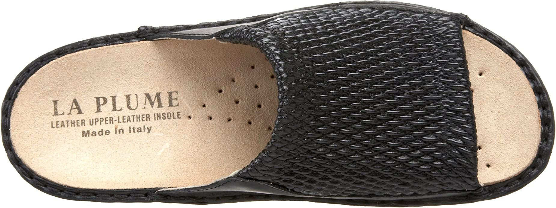 La Plume Stretch Women/'s Black Stretch//Leather Sandal with removable insole wide