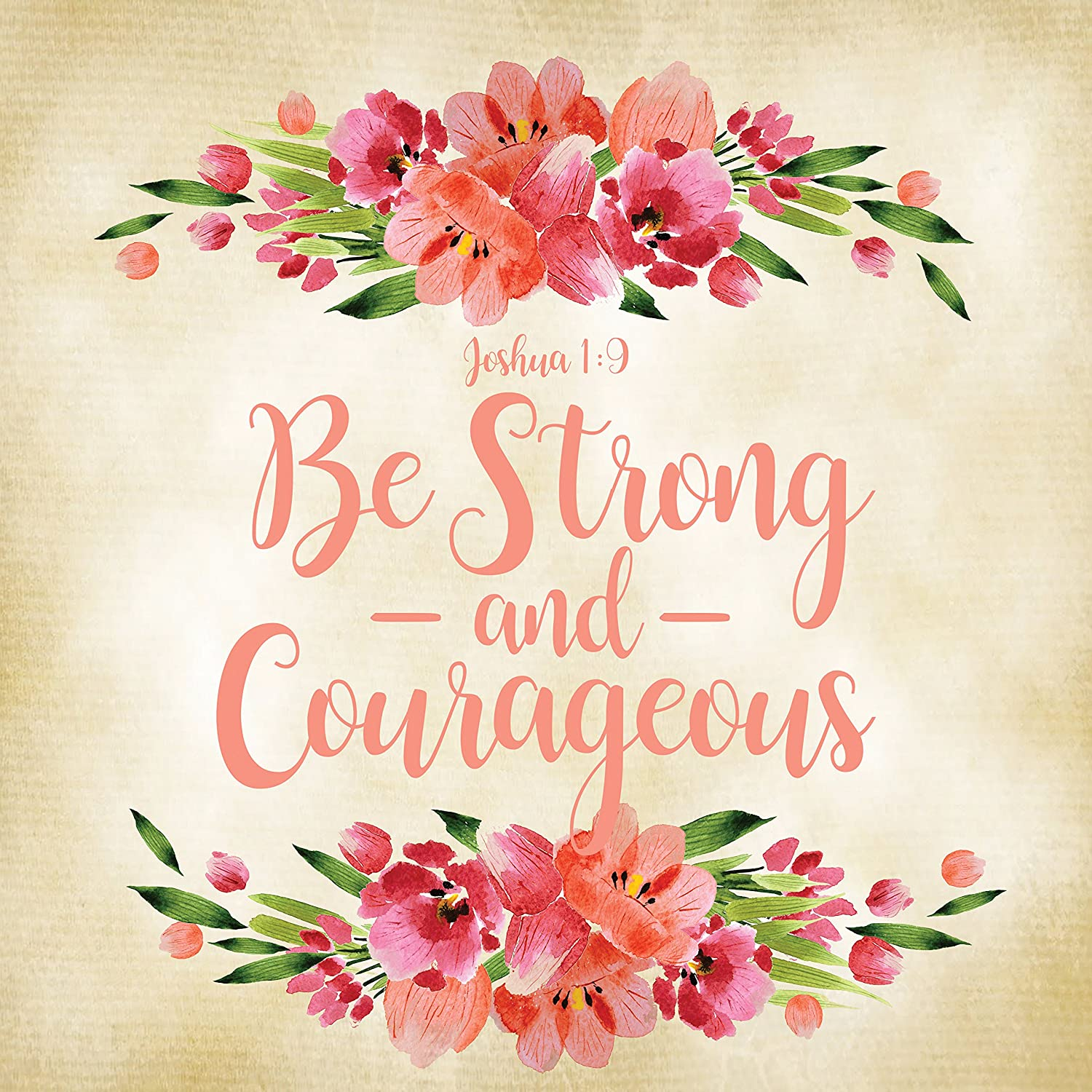 Urban House Design Inspirational Canvas Wall Art- Be Strong & Courageous, Joshua 1:9