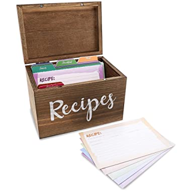 Wood Recipe Box Set - Recipe Holder with Dividers and Cards, Recipe Kit, Recipe Organizer, Recipe Case, Rustic Kitchen Accessories, for Home Decoration, Personalized Gift, 7.1 x 5 x 4.7 Inches