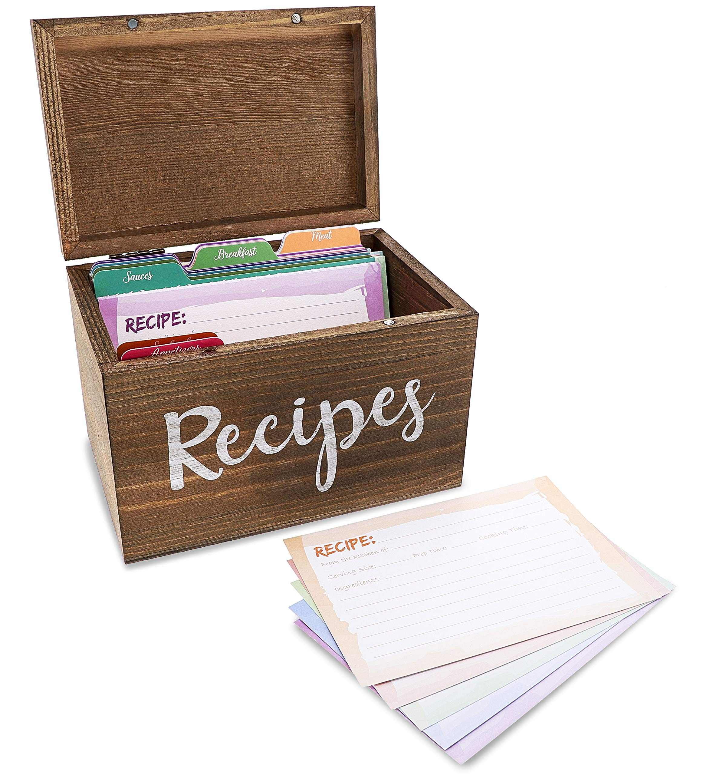 Juvale Wood Recipe Organization Box with Cards and Dividers, 7.1 x 5 x 4.7 Inches