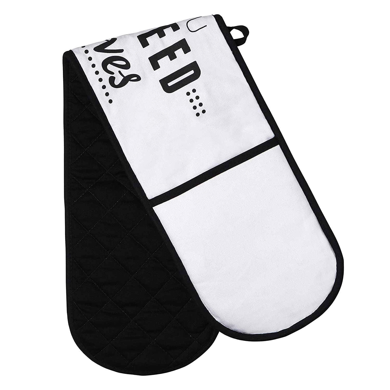 Premier Housewares Mot et Jeux Gant Double pour Four, Blanc/Noir 5100212