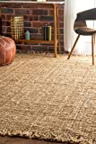 "nuLOOM Natural Hand Woven Chunky Loop Jute Area Rug, 7' 6"" x 9' 6"""