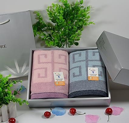 ZHFC Toalla set de regalo 2 carga lujo matrimonio de la boda regalo cambio 72x36cm toalla