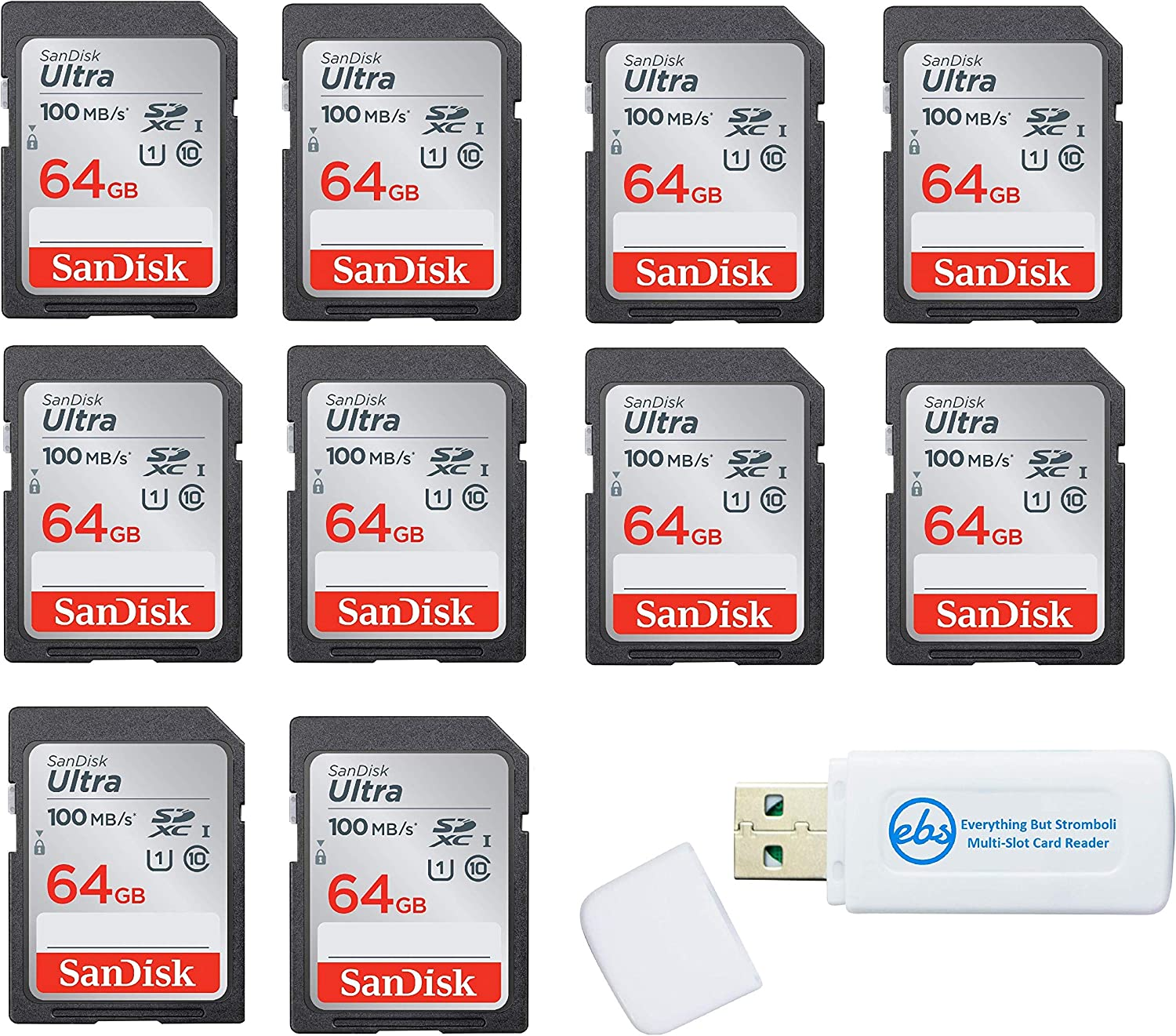 SanDisk 64GB SD Ultra Memory Card 10 Pack UHS-I Class 10 (SDSDUNR-064G-GN6IN) Bundle with (1) Everything But Stromboli Combo Card Reader