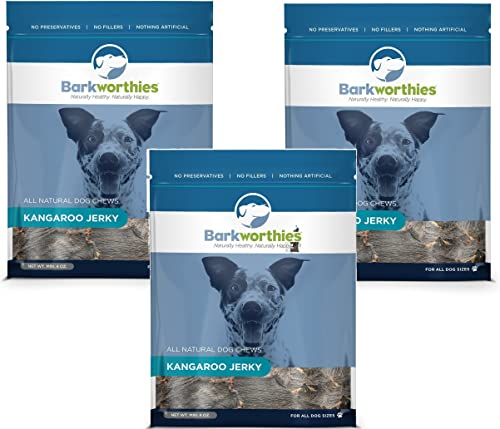 Best Bully Sticks 3 Pack Barkworthies All Natural Kangaroo Jerky Dog Chews – 4 Ounces Each