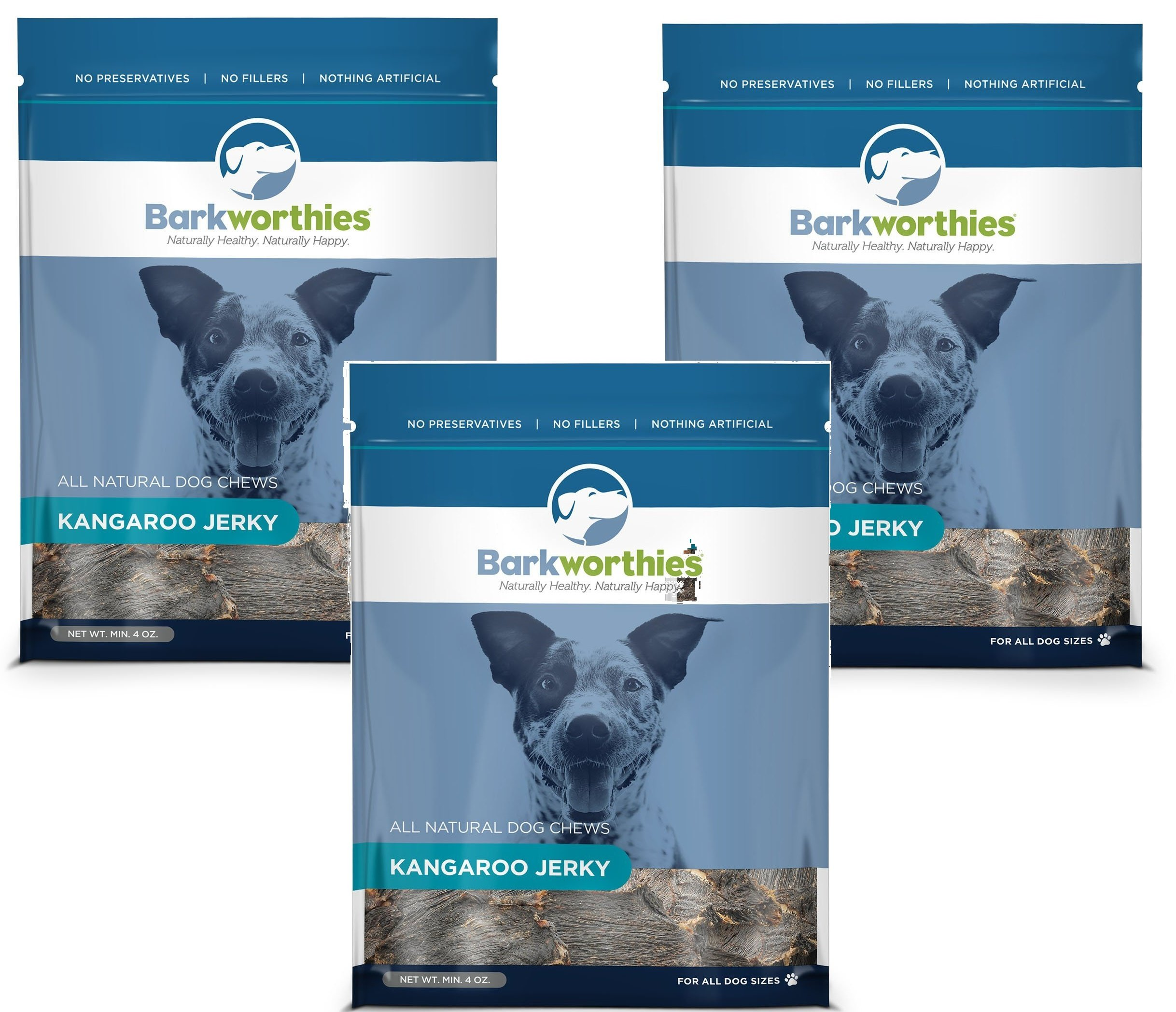 Best Bully Sticks (3 Pack) Barkworthies All Natural Kangaroo Jerky Dog Chews - 4 Ounces Each by Best Bully Sticks