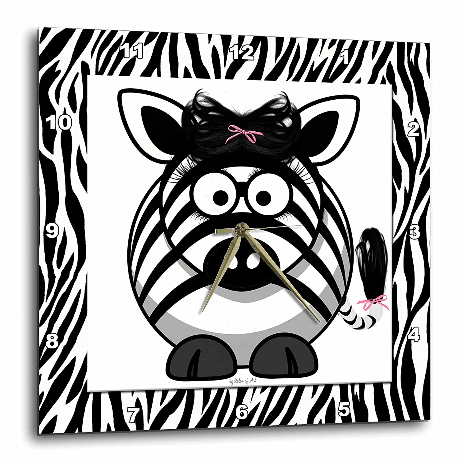 3dRose dpp/_21790/_3 Zebra with Pink Bow-Wall Clock 15 by 15-Inch