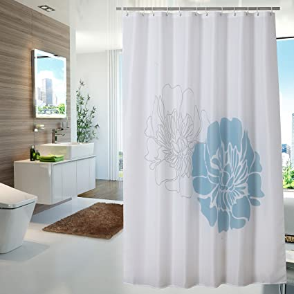 Yuunity Polyester Fabric Shower Curtain For Bathroom Mildew Resistant Waterproof Non Toxic Floral Printed