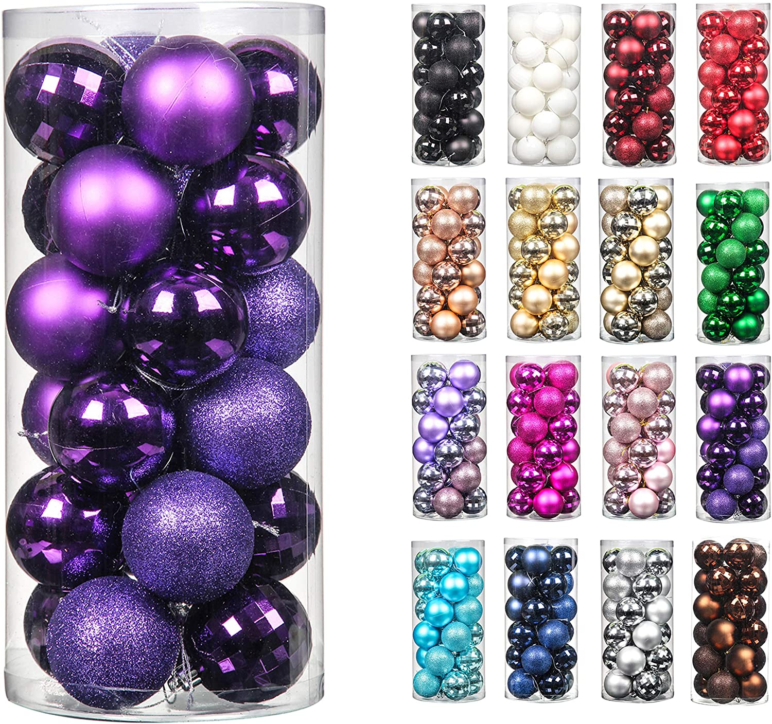 24pcs 2.36in Christmas Decoration Balls Shatterproof Color Set Ornaments Balls for Festival Wedding Home Party Decors Xmas Tree Hanging ( Purple)