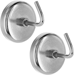 Ram-Pro 2-Piece Extra-Strong Chrome Plated Magnetic Hook Set – Universal Use for Kitchen, Garage, or Office (8 Lb. Capacity)