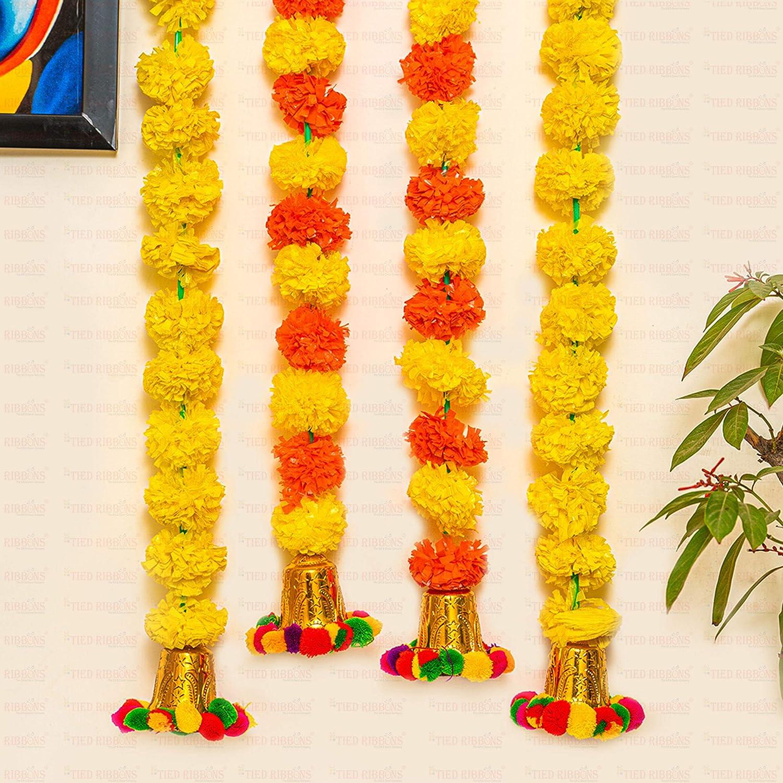 TIED RIBBONS Wall Door Hanging Artificial Marigold Flowers Garlands Bandhanwar Torans with Golden Bells- Diwali Decoration Item for Home Décor (Pack of 4, Multicolor)