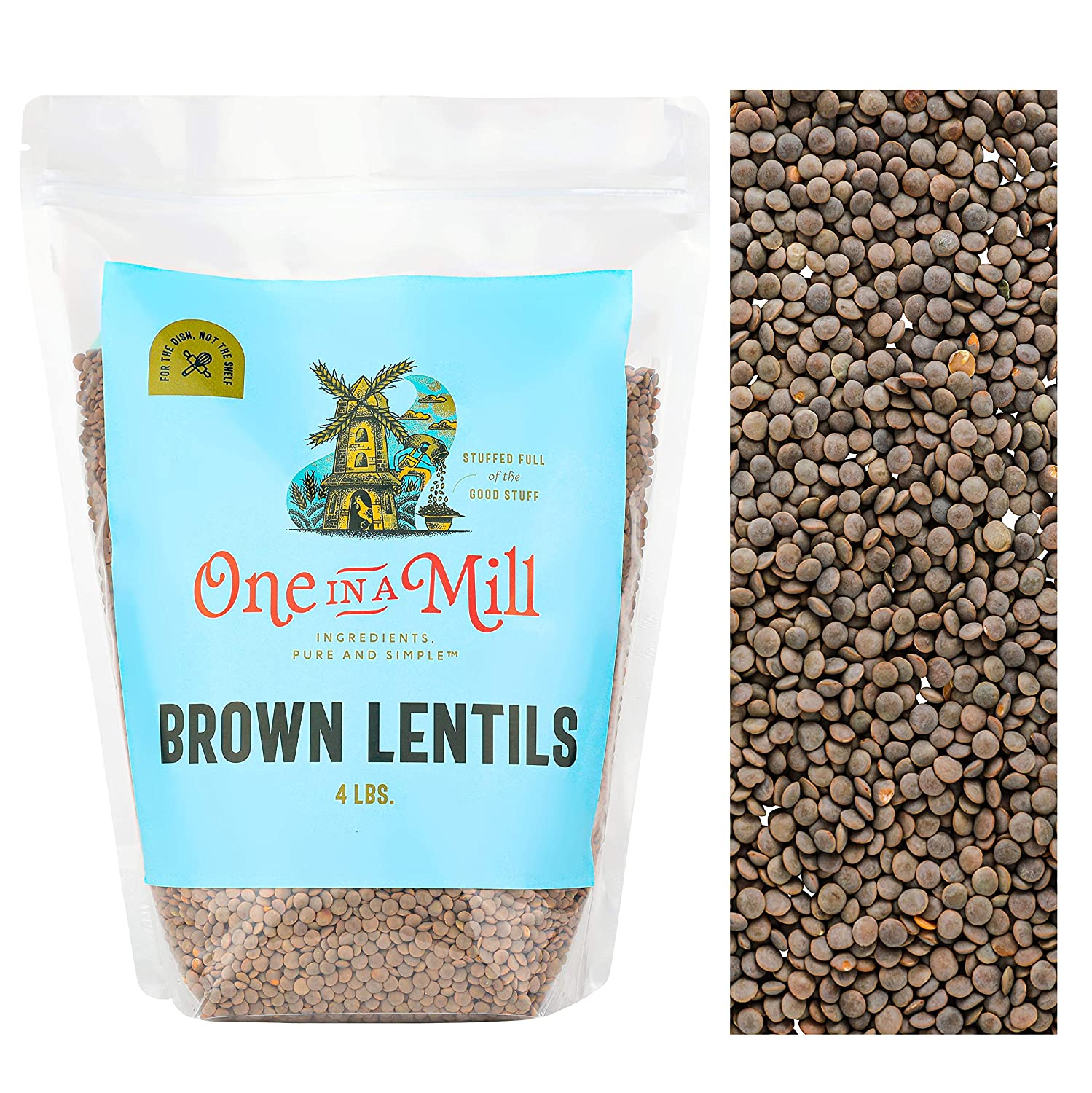 One in a Mill Whole Dried Brown Lentils 4lb Bulk Resealable Bag | All-Natural Plant-Based Protein for Soup, Chili & Curries | Non-Irradiated & Sproutable | Vegan Non-GMO, Gluten-Free, Certified Kosher