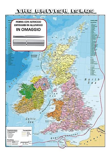 Gran Bretagna Cartina.Carta Geografica Murale Gran Bretagna In Lingua Madre