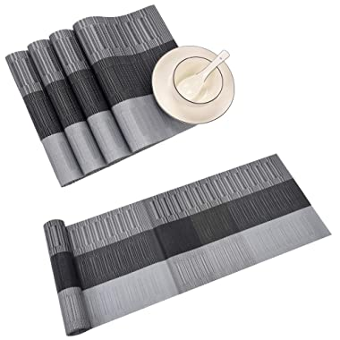 famibay PVC Table Place Mats and Table Runner - Heat Insulation PVC Placemats Stain-Resistant Woven Vinyl Table Mats for Kitchen (Set of 4 and Table Runner, Black)