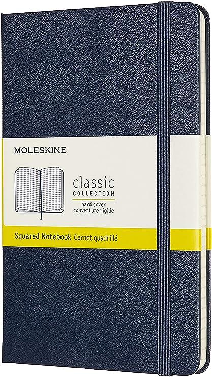 Oferta amazon: Moleskine - Cuaderno Clásico con Páginas Cuadriculada, Tapa Dura y Goma Elástica, Color Azul Zafiro, Tamaño Medio 11.5 x 18 cm, 208 Páginas