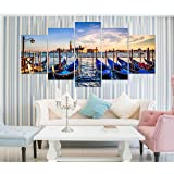 Paper Plane Design Multiple Frames Boats And Sea Wall Art Panels For Living Room Painting - 5 Frames (22 Inch X 40 Inch)