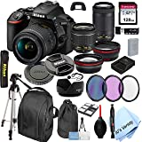 Nikon D5600 DSLR Camera with 18-55mm VR and 70-300mm Lenses + 128GB Card, Tripod,Back-Pack,Filters, 2X Telephoto Lens, HD Wid
