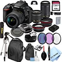 Nikon D5600 DSLR Camera with 18-55mm VR and 70-300mm Lenses + 128GB Card, Tripod,Back-Pack,Filters, 2X Telephoto Lens…