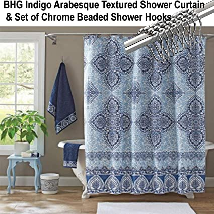 BHG Better Homes And Gardens Indigo Arabesque Shower Curtain Beaded Chrome Hooks