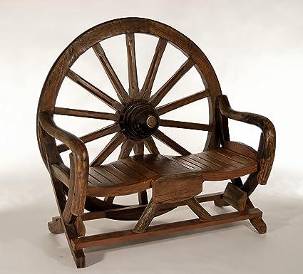 Magnificent Amazon Com Teak West Wagon Wheel Bench In Reclaimed Teak Uwap Interior Chair Design Uwaporg