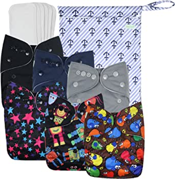 Wegreeco Washable Reusable Baby Cloth Pocket Diapers 6 Pack + 6 Inserts + 1 Wet Bag