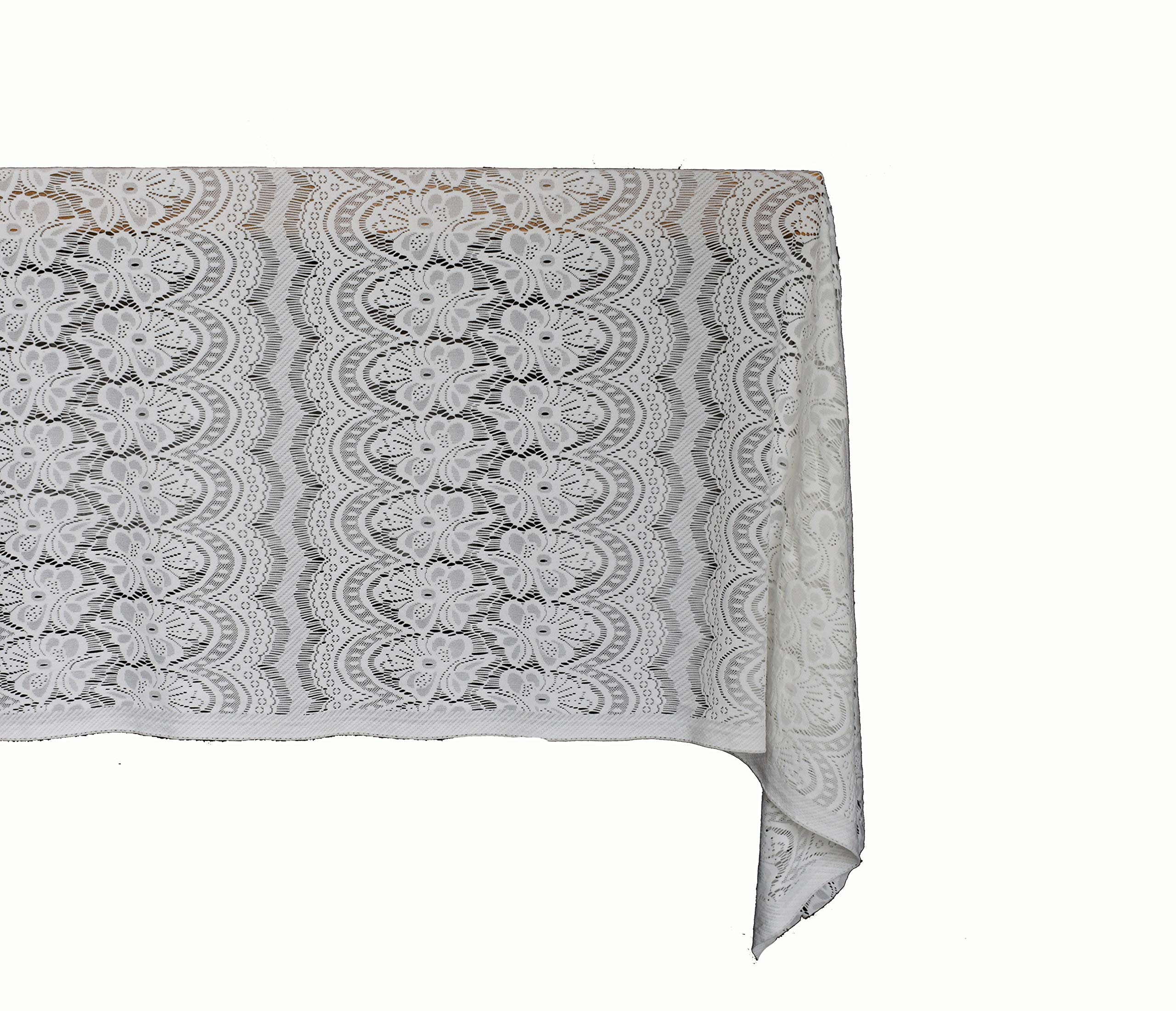 ADCorner 60''x120'' Classic White Lace Tablecloths Overlay for Elegant Chic Weddings Rectangle Vintage Embroidered Bridal Baby Girl Shower Décor Spring Summer Outdoor Garden Tea Party (Off White)