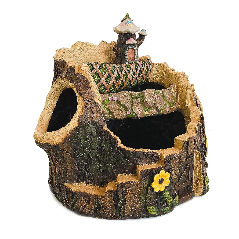 "Fairy Garden Planter Pot, Fairy Planter, Fairy Garden Container (14"", Tiered Tree Looking Planter)"