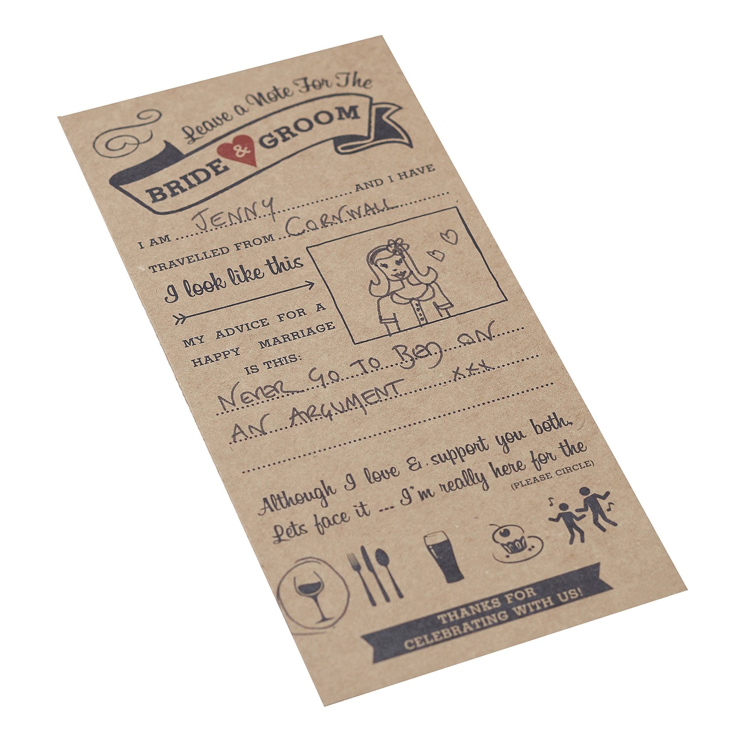 William & Douglas Ginger Ray Wedding Advice Cards for The Bride & Groom Wedding and Bridal Shower Party Games and Decoration (20 Pack)